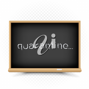 Quarantine text draw on chalkboard with shadow on white transparent background. School epidemic infection warning symbol