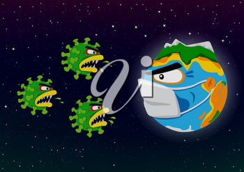 Coronavirus attacks Earth illustration. Covid-19 global world fight. Blue planet in mask and danger virus attack