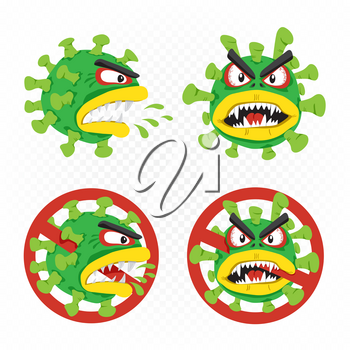 Coronavirus cartoon illustration set on white transparent background. Covid-19 virus microbe infection no entry allowed template