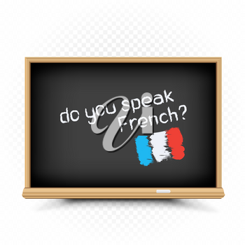 Do you speak text message draw on chalkboard on white background. French language education lessons illustration