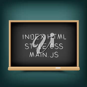 Web coding education lessons. Internet pages file extension draw on school blackboard. Programming study in school