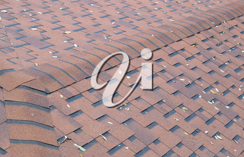 Top view of brown roof shingles with a few fallen leaves on the surface. Selective focus with a blurred background.