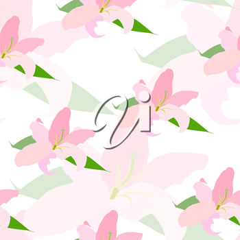 Lilly Flower Seamless Pattern Vector Illustration EPS10