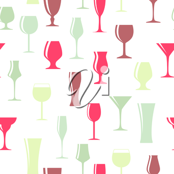 Alcoholic Glass Silhouette Seamless Pattern Background Vector Illustration EPS10