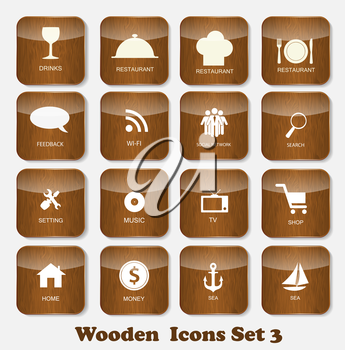 Wooden Application Icons Set Vector Illustration. EPS10