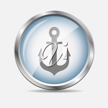Sea Glossy Icon Isolated Vector Illustration. EPS10