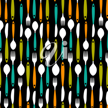 Seamless Pattern with Forks, Spoons end Knifes. Vector Illustration. EPS10