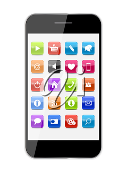 Abstract Design Mobile Phone with Glass Button Icons . Vector Illustration EPS10