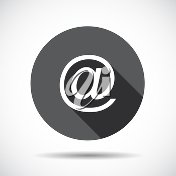 Mail  Flat Icon with long Shadow. Vector Illustration. EPS10