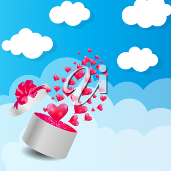 Valentines Day Card with Gift Box and Heart Shaped Balloons, Vector Illustration