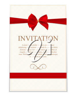 Vintage Wedding Invitation with Bow and Ribbon Template Vector Illutsration EPS10