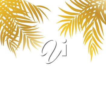 Beautifil Palm Tree Leaf  Silhouette Background Vector Illustration EPS10