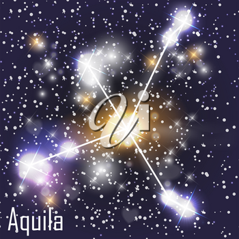 Aquila Constellation with Beautiful Bright Stars on the Background of Cosmic Sky Vector Illustration. EPS10