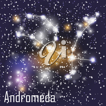 Andromeda Constellation with Beautiful Bright Stars on the Background of Cosmic Sky Vector Illustration. EPS10