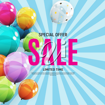 Abstract Designs Sale Banner Template with Balloons. Vector Illustration EPS10