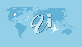 Airplane dotted flight background above world map. Vector Illustration EPS10