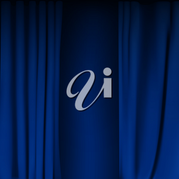 Realistic colorful Blue velvet curtain folded. Option curtain at home in the cinema. Vector Illustration. EPS10