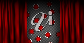 Realistic colorful red velvet curtain. Under the curtains gambling chips gambling. Option curtain at home in casino. Vector Illustration. EPS10
