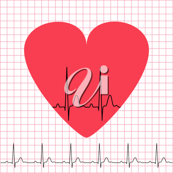Heart icon with electrocardiogram on grid background, 2d illustration, vector, eps 8