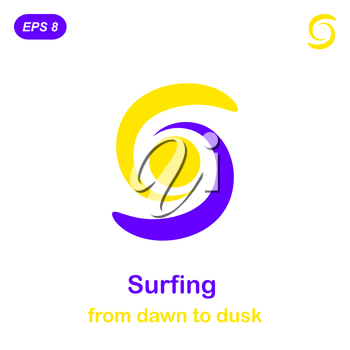 Surfing conception icon, 2d illustration, vector, eps 8