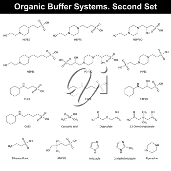 Organic buffer agents - chemical molecular structures and formulas, second set, 2d vector, eps 8