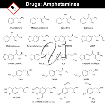 Amphetamines - natural and synthetic drugs, main chemical structural formulas, 2d vector isolated on white background, eps 8