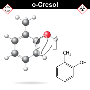Cresol molecule - structural chemical formula and model of ortho-cresol, 2d and 3d isolated on white background, vector, eps 8