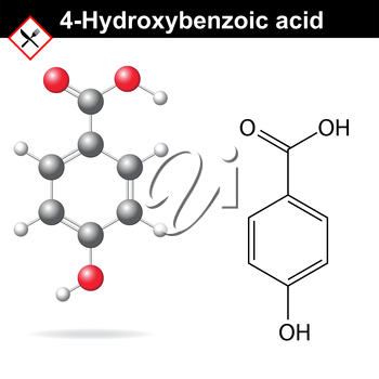 4-Hydroxybenzoic acid - medical substance, chemical structural formula and model, 2d & 3d vector on white background, eps 8