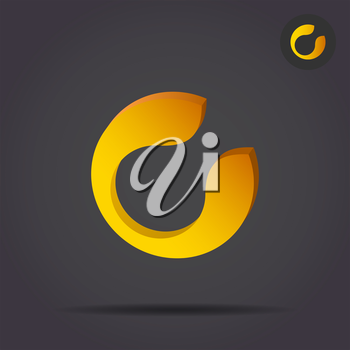 C letter circular icon, 2d and 3d illustration, vector signs on dark background, eps 10