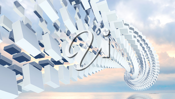 3d abstract background illustration with spatial helix made of boxes above coastal cloudy background