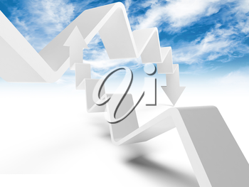 Two broken trend lines with arrows are going up and down, 3d illustration with cloudy sky photo background