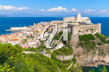 Aragonese-Angevine Castle on the hill in old town of Gaeta, Italy
