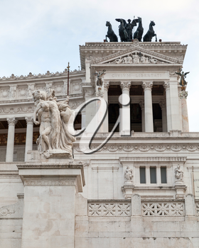 Altare della Patria, National Monument to Victor Emmanuel II the first king of a unified Italy, located in Rome, facade fragment