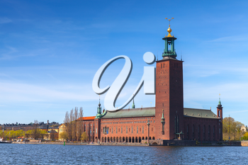 Stockholm City Hall, exterior of the building of the Municipal Council for the City of Stockholm in Sweden