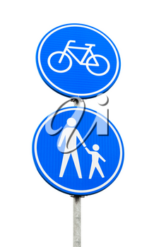 Lane for Bicycles And Pedestrians Only. Blue round road sign isolated on white background. Amsterdam, Netherlands