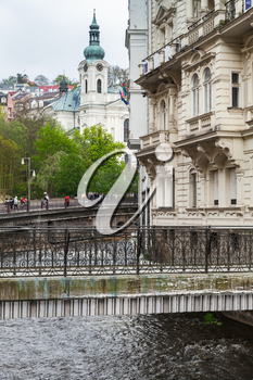 Walking bridge over Tepla river in  Karlovy Vary town, Czech Republic