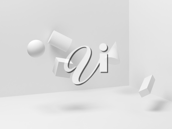 Abstract white still life installation with levitating primitive geometric shapes. Zero gravity illustration, 3d rendering