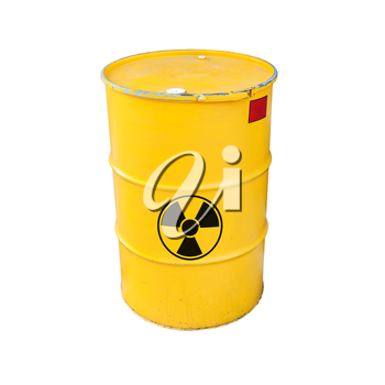 Yellow metal barrel with black radioactive warning sign isolated on white background