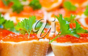 Russian appetizer background. Red caviar sandwiches, photo with shallow depth of field