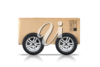 Cardboard box with standard signs and automotive wheels isolated on white background, fast delivery concept metaphor