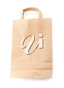 Modern shopping paper bag isolated on white with soft shadow. Front view