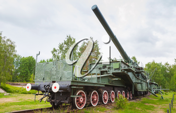 Historical monument in fort Krasnaya Gorka, Russia. Soviet 305-mm railroad gun from WWII period