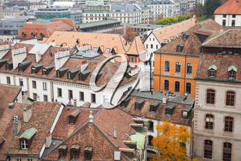 Geneva city, Switzerland. Cityscape with old living houses in old central area, photo taken from St. Pierre Cathedral viewpoint