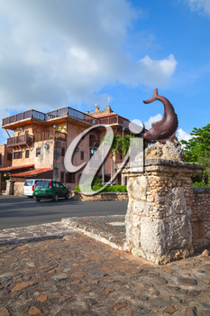 Fish sculpture. Altos de Chavon, old buildings facades, mediterranean style European village located atop the Chavon River in La Romana, Dominican Republic