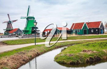 Windmills and old wooden houses, Zaanse Schans town is one of the popular tourist attractions of the Netherlands