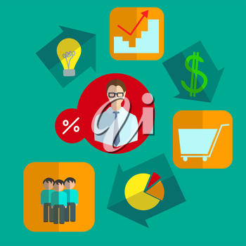Infographics set of business icons in a logical sequence looped the consistent implementation of the idea  into flat style. They can be used to design a business plan. Vector illustration