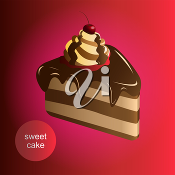 Vector sweet cake with cherry and chocolate cream