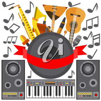 Set of musical instruments isolated on a white background in a flat style. Icons balalaika, pipe, tape, speakers, piano for design. Vector illustration