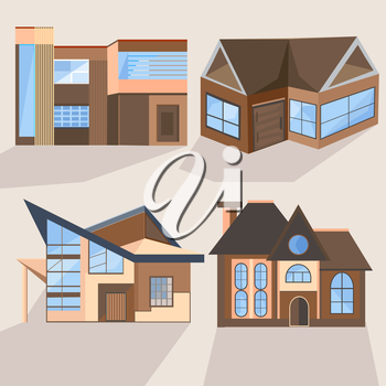 Set of stylish brown houses with beautiful blue windows into a flat style. Cottages and villas in different angles. Vector illustration