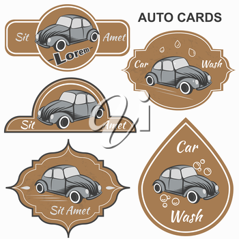 Set of vintage cards for motorists club and car washes, It can be used for printing and web design. Vector illustration